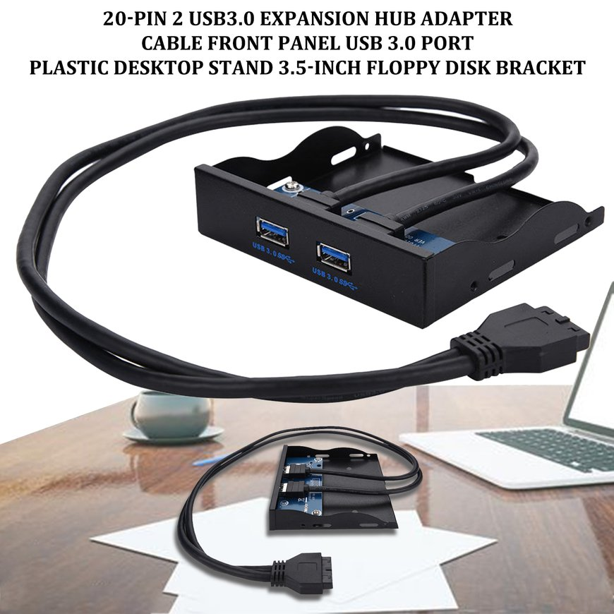 "3.5/"" 20 Pin to 2 USB 3.0 Port HUB+HD Audio PC Floppy Expansion Front Panel Black"