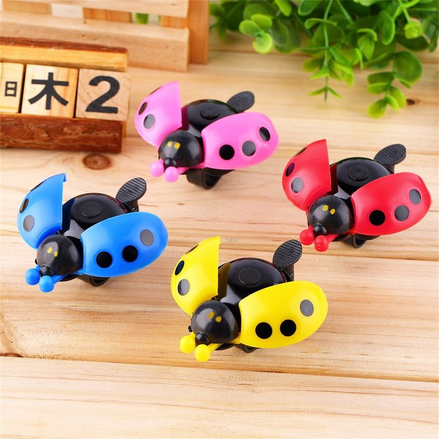 Lovely Kid Beetle Ladybug Ring Bell For Cycling Bicycle Bike Ride Horn Alarm Red