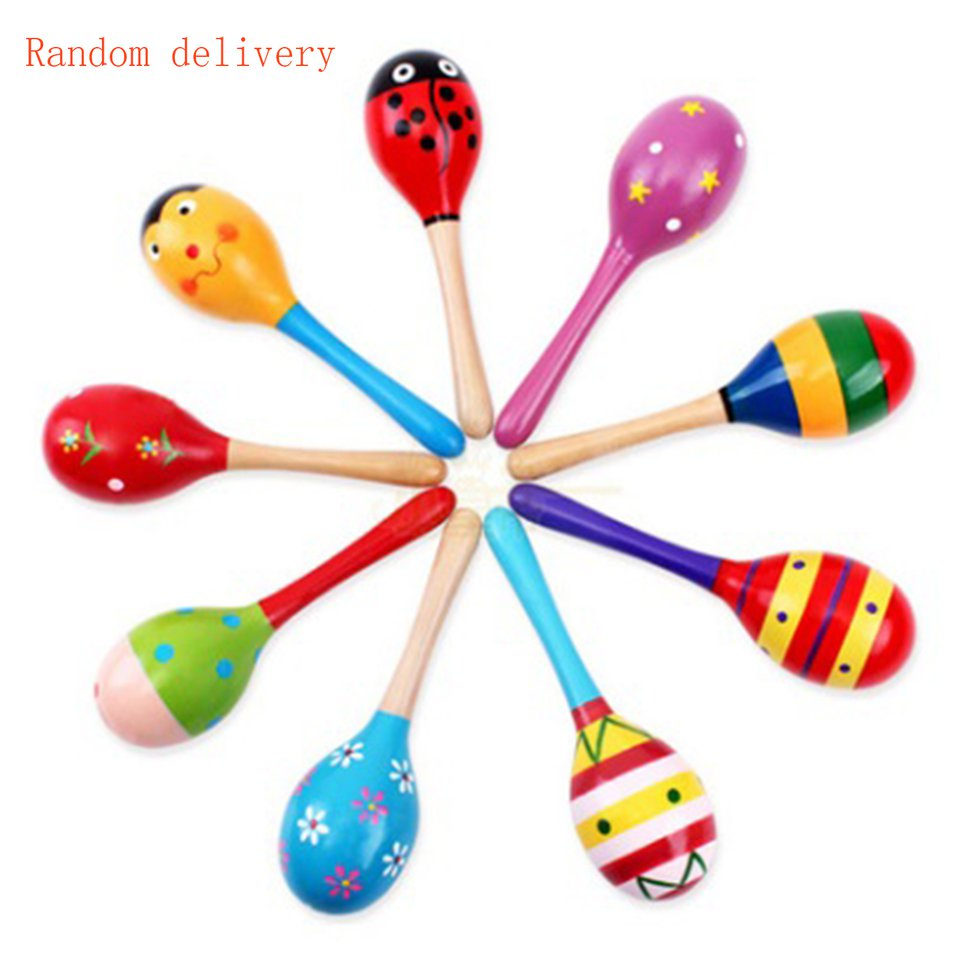 Kids Baby Wooden Toy Maracas Rumba Shakers Musical Party Rattles Hot KL