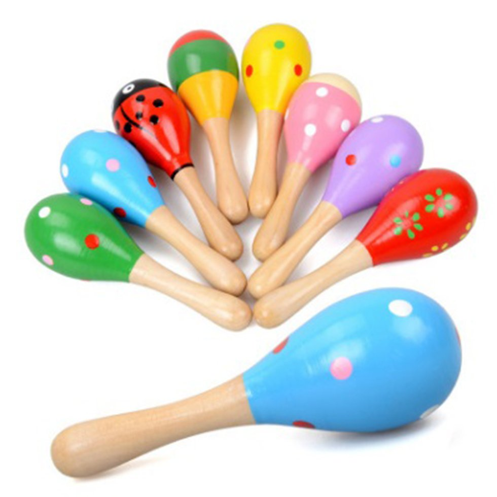NEW Kids Baby Toddler Wooden Toy Maracas Rumba Shakers Musical Party Rattles