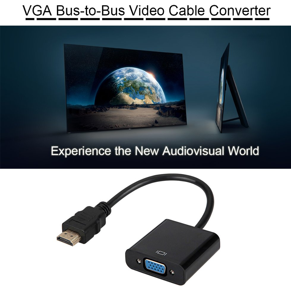 1080P HDMI Male to VGA Female Video Adapter Converter With 3.5mm Audio Cable