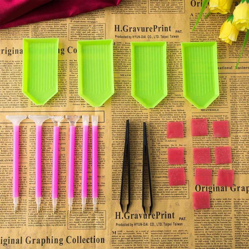 21PCS Diamond Painting Tools Kit Stitch Tray Sticky Tweezers Point Drill Pen DIY