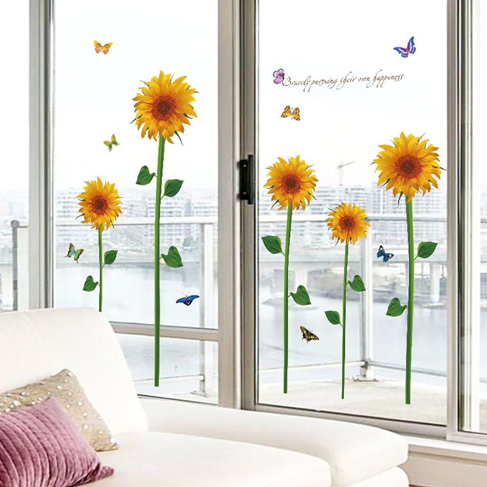 Abstract Sunflower with Butterfly Highest Quality Wall Decal Sticker
