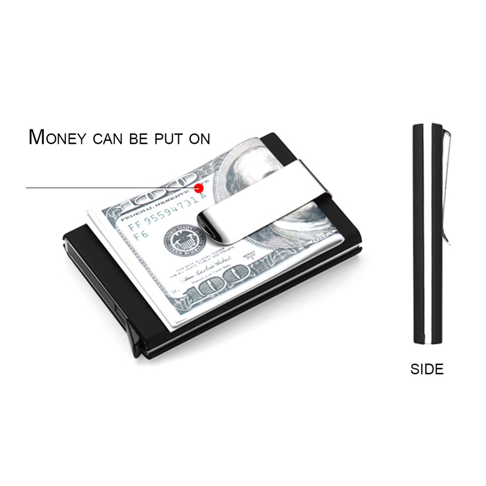 anti static id credit card holder case anti magnetic card box with money clip sz - Magnetic Card Holder