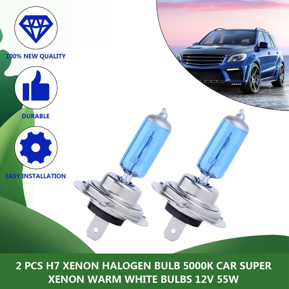 2pcs H7 XENON HALOGEN BULB 5000K Car Super White Light Bulbs 12V 55W D
