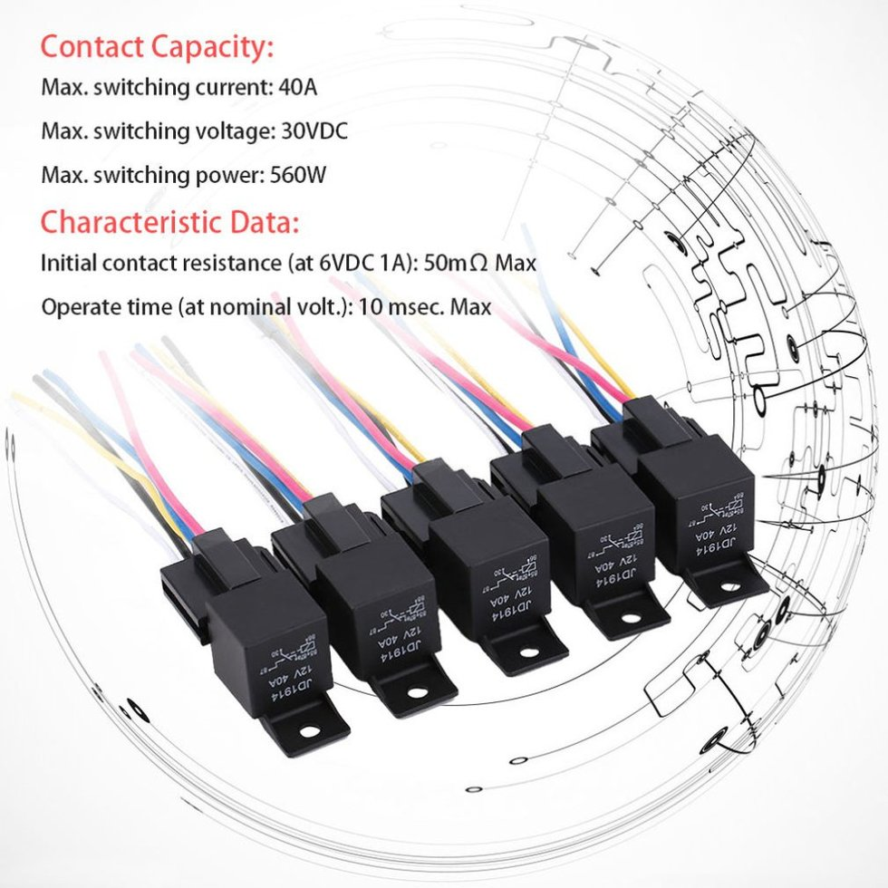 5pcs Set Practical 12 Volt 40 Amp Automotive Relay With Harness Switching Current In Socket Wires Az
