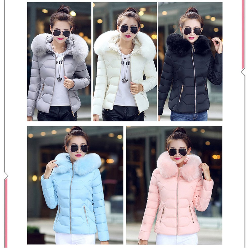 Fashion Winter Jacket Women Solid Fur Collar Down Long