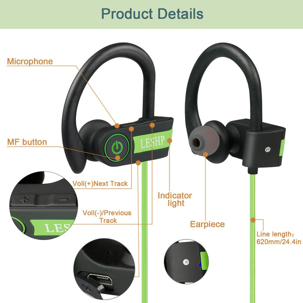 Leshp-Wireless-Bluetooth-Headphones-Hands-free-Sport-Headset-Sport-Stereo-Lot-TE