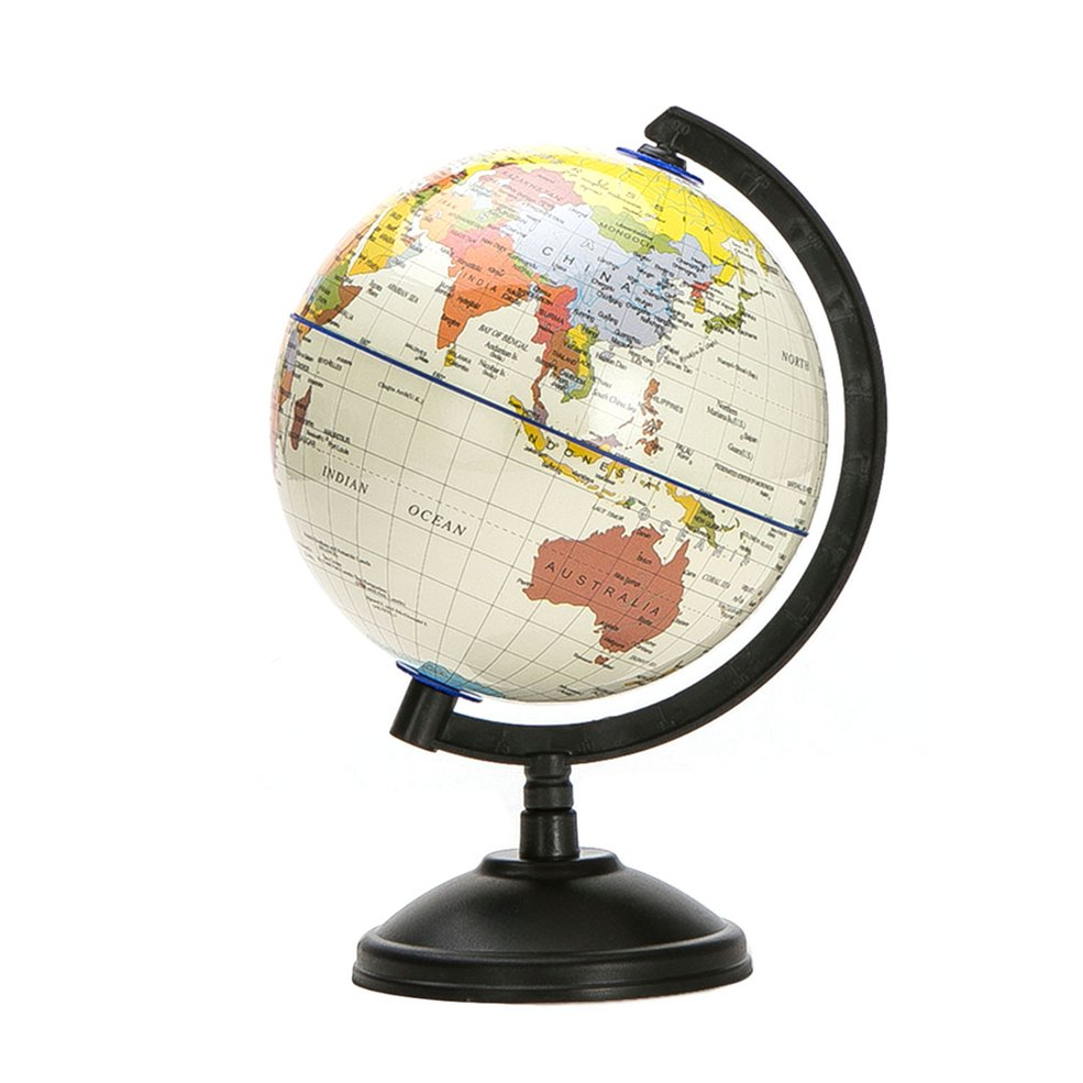 14cm World Globe Map Ocean Geography Educational Toy Gift Swivel Stand Blue