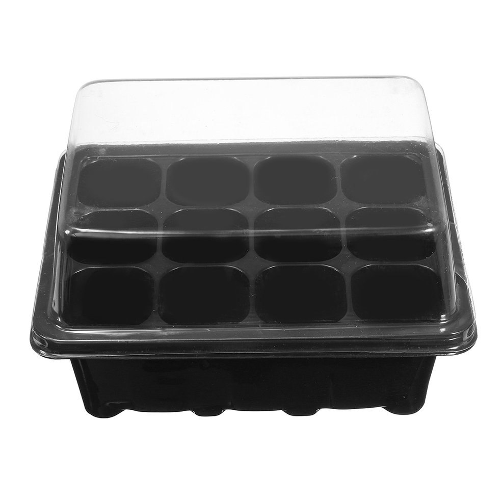 Black /& Transparent Inserts with Holes Propagation Tray Plant Seed Cloning Insert Clone Grow Box 12 Cell Plug Propagation Box Kit Dome Tray