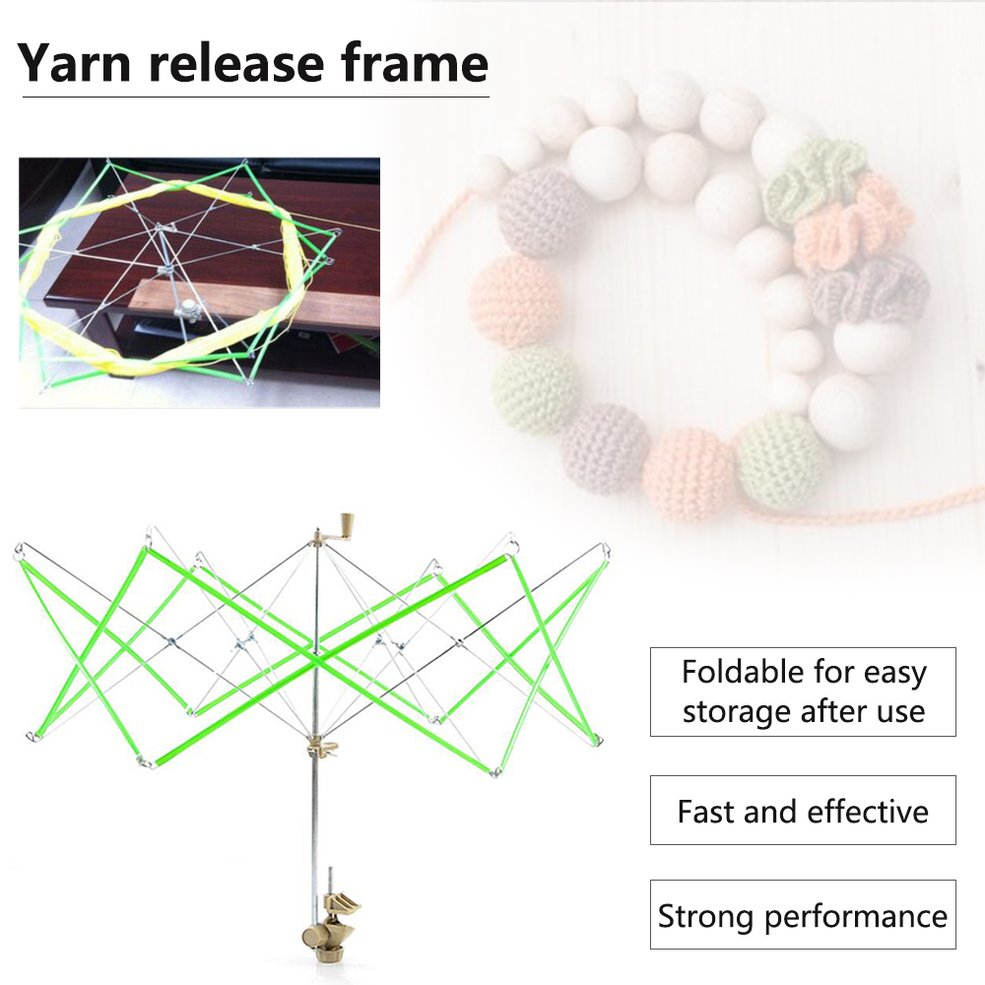 Green Knitting Umbrella Swift Wool Yarn String Winder Holder Hanks Skeins Line Yarn Rack Umbrella Support Holder Tool