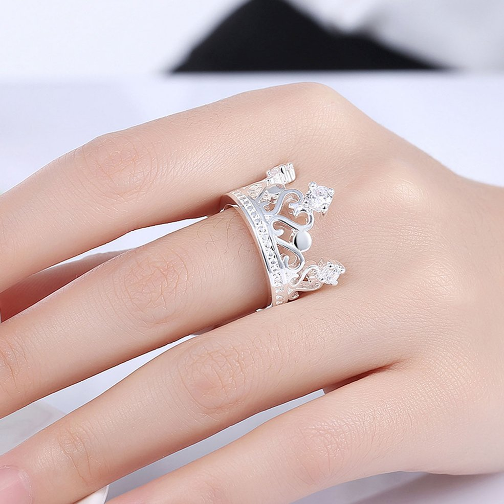 Crown Shape Woman Zicron Ring Lady Finger Ring Party Wedding Female ...