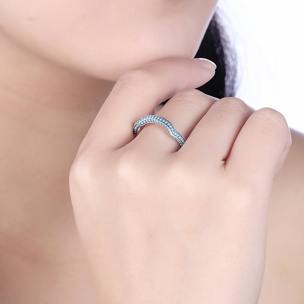 Turquoise Surround Women Rings Female Ladies 925 Sterling Silver ...