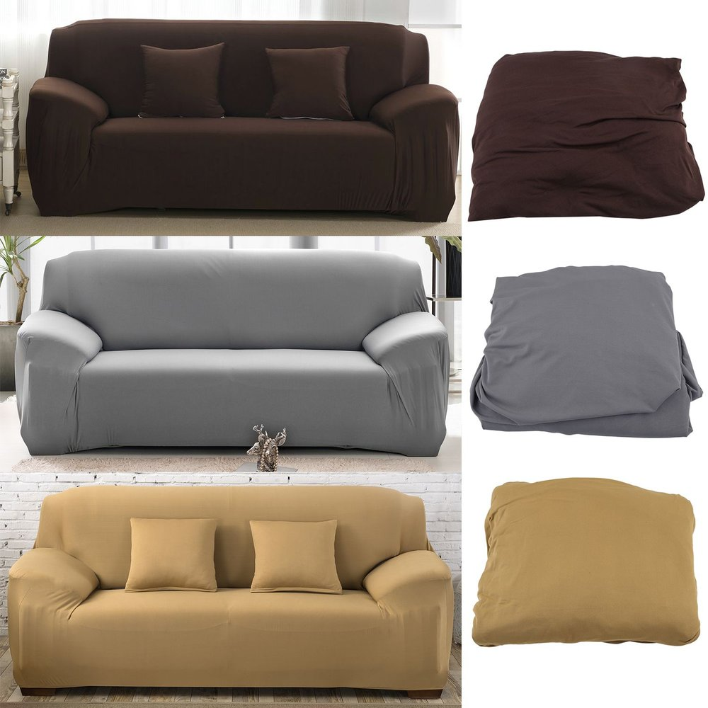 Elastic Polyester Sofa Cover Pure Color Stretch Slipcover ...