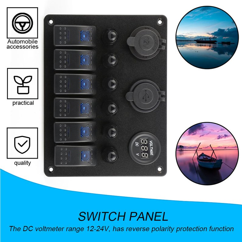 labwork 6 Gang Circuit Blue LED Rocker 35A Heavy Duty Switch Panel for Car Marine Boat