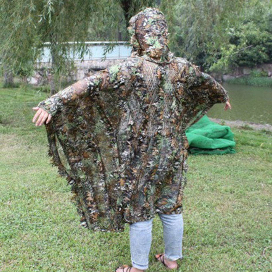 Details about 3D Leaves Camouflage Poncho Cloak Stealth Suits Outdoor  Woodland CS Clothing G1