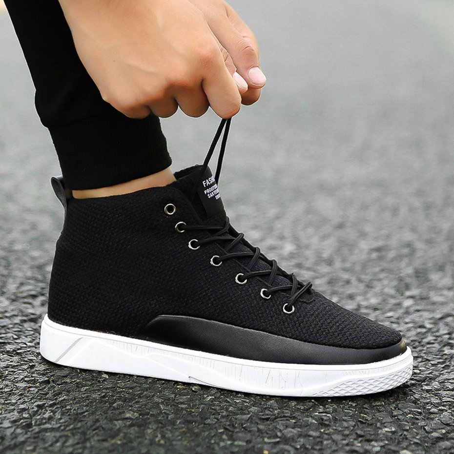 c3e6c71651 Stylish Men Canvas Shoes Spring Autumn Top Fashion Lace-up High Style Solid  Color Flat With Youth Casual Shoes For Students