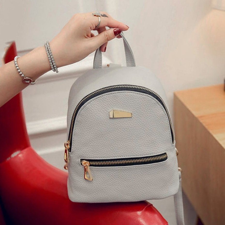 34f6792a8a49 Pu Leather Mini Zippered Backpack Casual Easy Matched Shoulder Bag ...