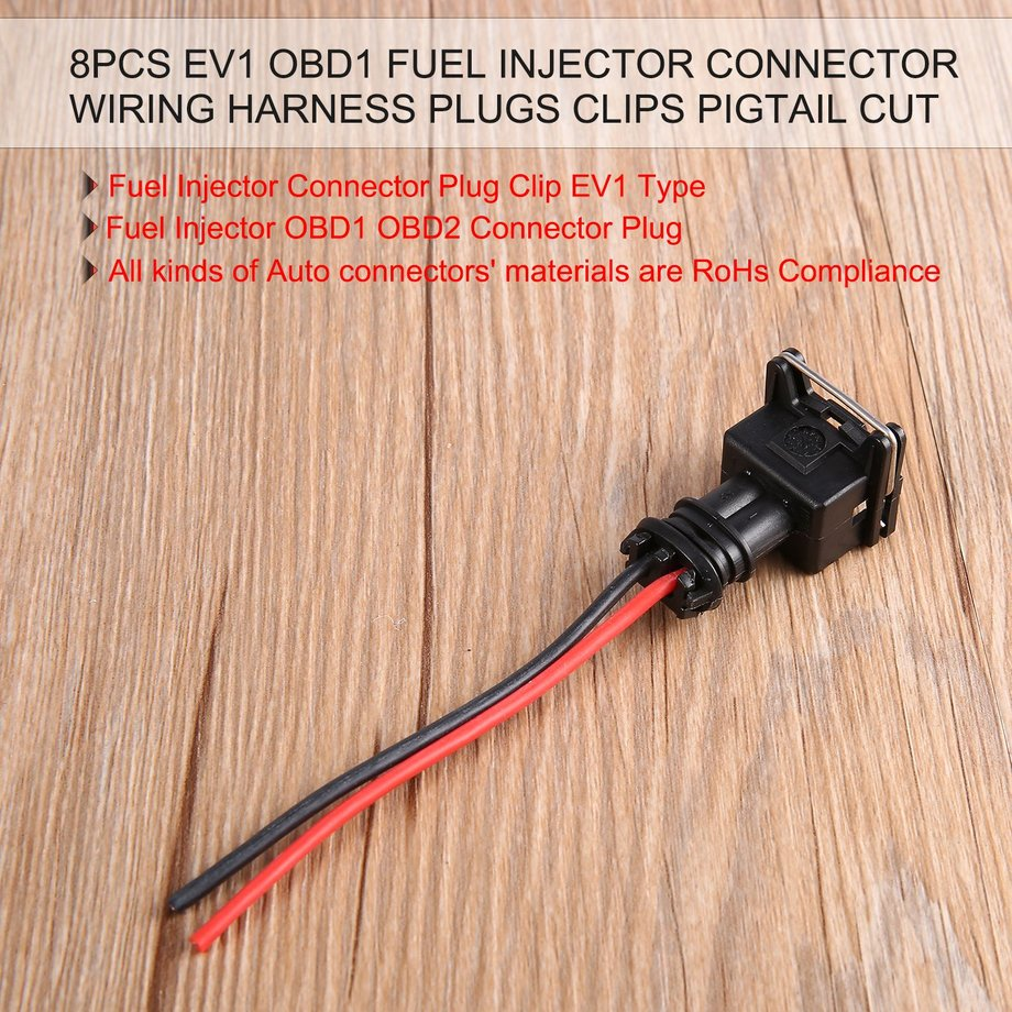 8 Fuel Injector Connector Wiring Plugs Clips Fit Ev1 Obd1 Pigtail Obd2 Plug Package Included X