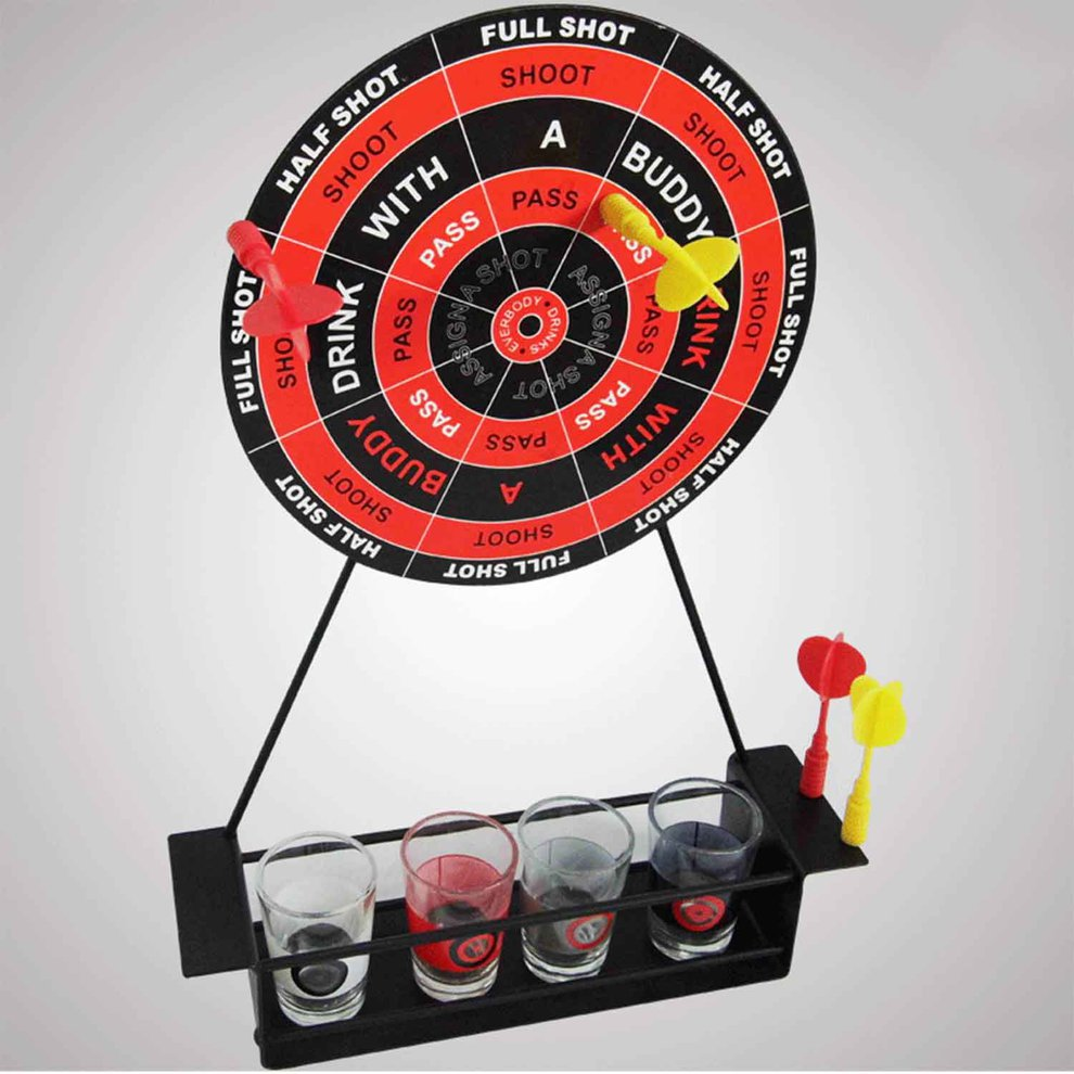 Magnetic Mini Dart Wine Set With Cup Iron Frame Game Glass Dart Wine