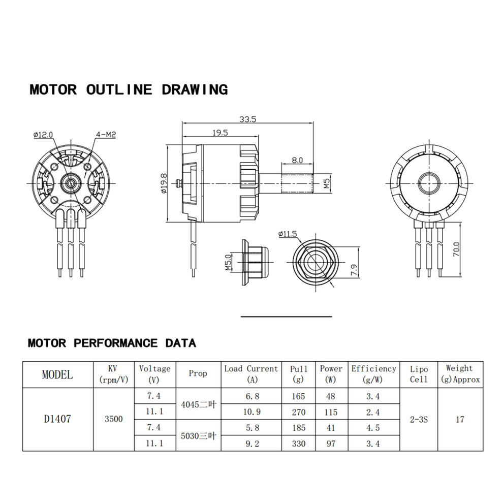 4pcs Dxw D1407 3500kv 2 3s Cw Ccw Brushless Motor For Rc Drone Wiring Diagram Multicopter Ew