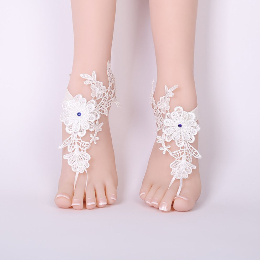 9d36ddc2999e6 Sexy Wedding Lace Barefoot Sandals Beach Wedding Anklet white Sexy ...