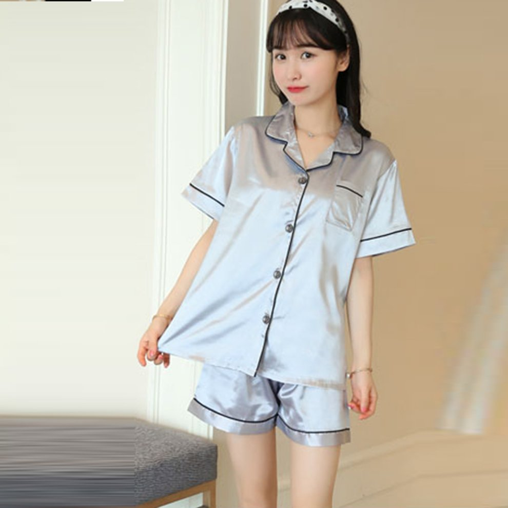 50d7654c61 Womens Short Pajamas Set Button Closure Silk-like Satin Sleepwear with Pants  NN
