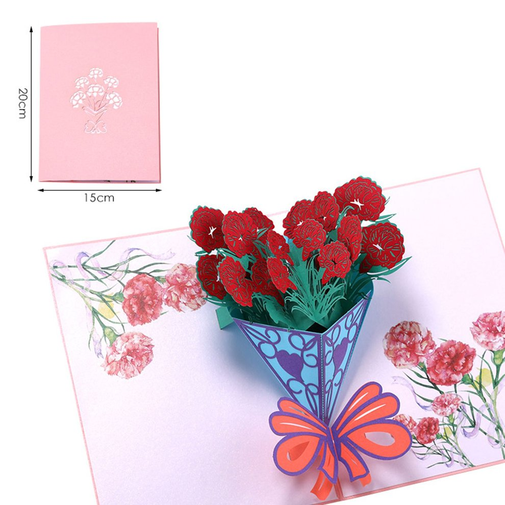 3d Greeting Card Pop Up Card With Carnation Bouquet For Anniversary