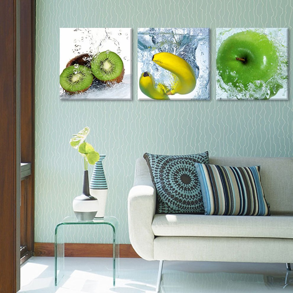Set of 3Pcs Canvas Kitchen Wall Hanging Art Painting Picture Fruits ...
