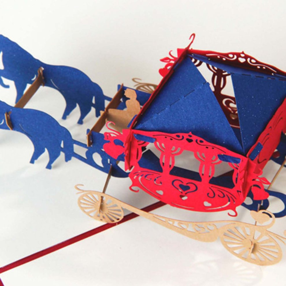 3D Pop Up Horse Carriage Shape Party Wedding Invitation Greeting ...