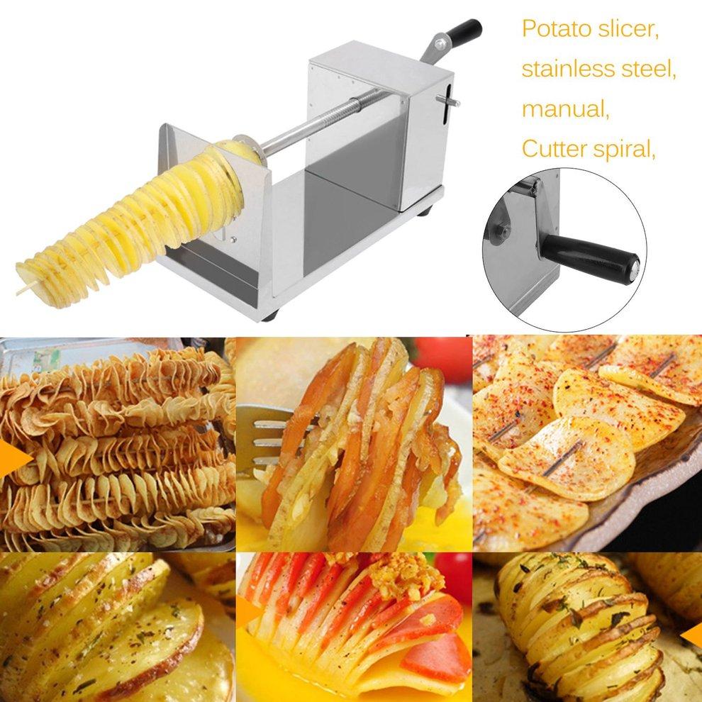 Chips machine pomme de terre epluche slicer spiral manuel coupe acier inoxydable achat - Machine a chips maison ...