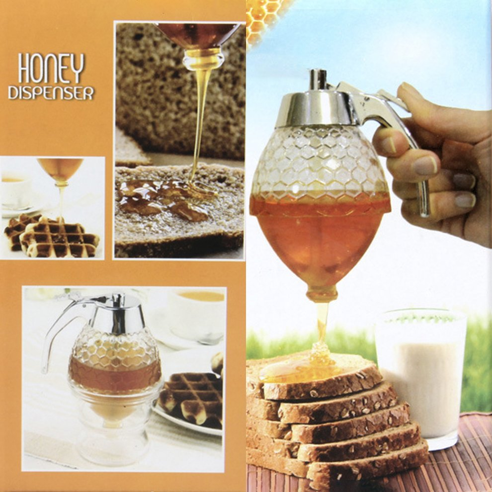 d4176a82024a Details about 200ML Portable 1 Cup Bee Hive Acrylic Honey Syrup Dispenser  Jar With Stand NC