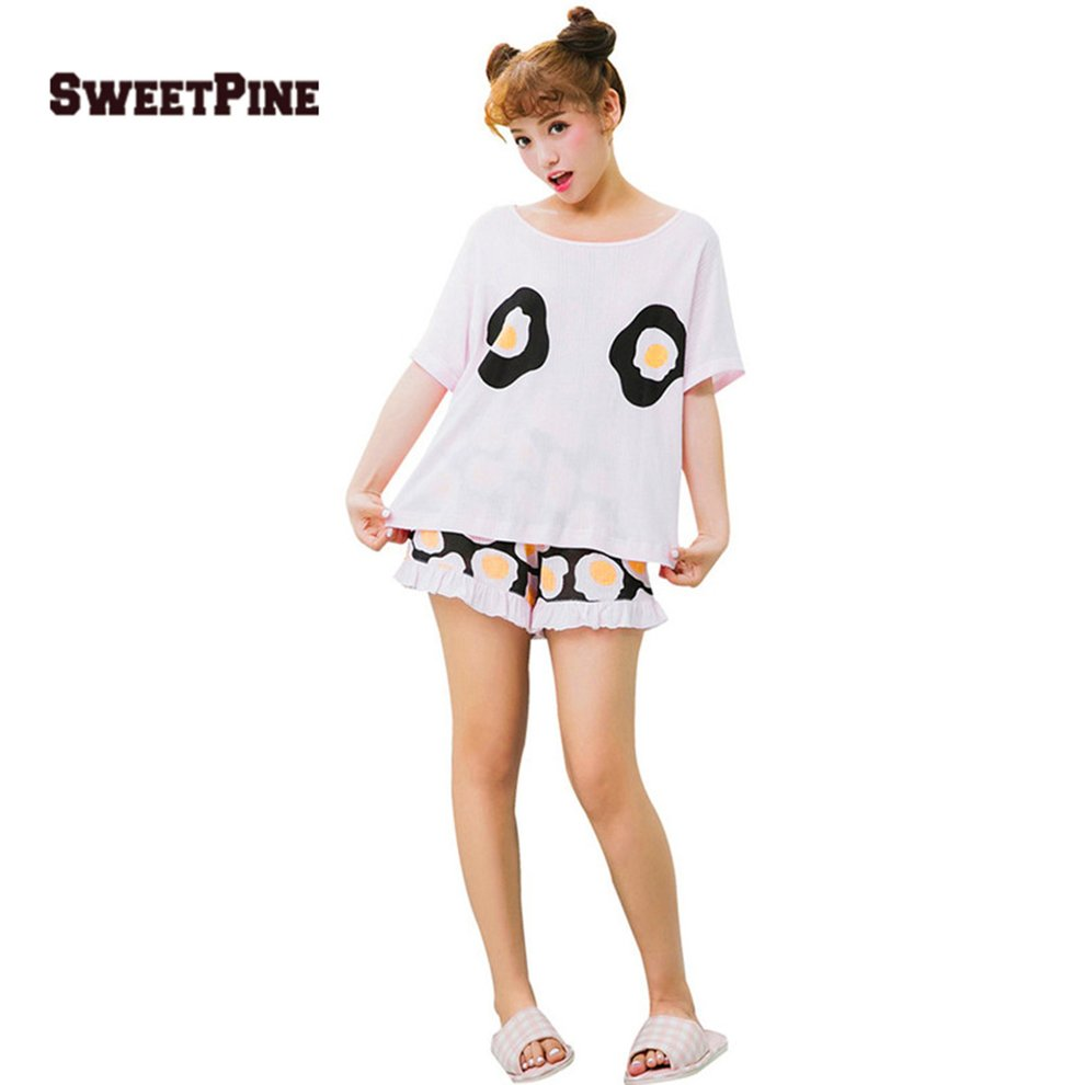 SWEETPINE 00472 Fried Eggs Printing Cotton Pajama Two-piece Set T ... 24bf86c1d